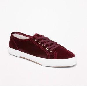 Burgundy Velvet Sneakers Maroon Plush Tennis Shoes